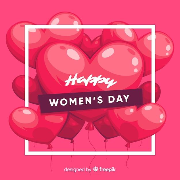 Hand getrokken ballonnen vrouwen dag achtergrond Gratis Vector