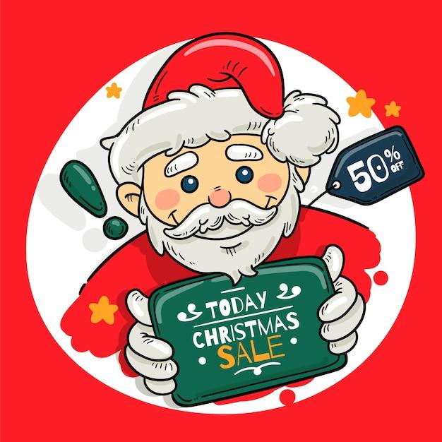 Hand getrokken banner kerstmis verkoop Gratis Vector