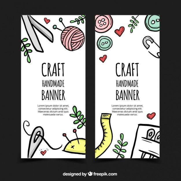 Hand getrokken banners over ambachten Gratis Vector