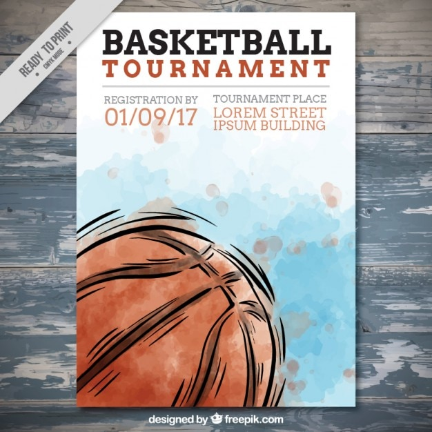 Hand getrokken basketbal aquarel flyer Gratis Vector