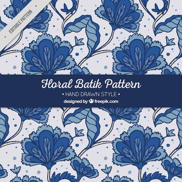 Hand getrokken batik bloempatroon Gratis Vector