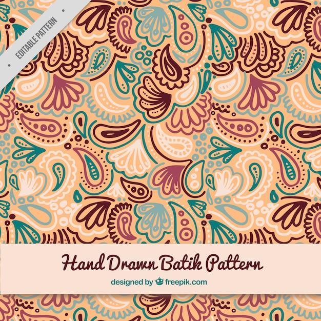 Hand getrokken batik patroon Gratis Vector