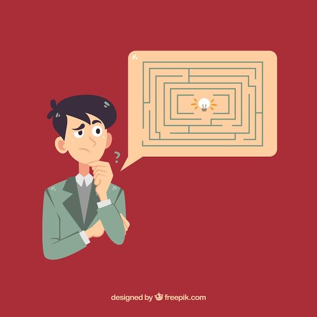 Hand getrokken bedrijfsconcept met labyrint Gratis Vector