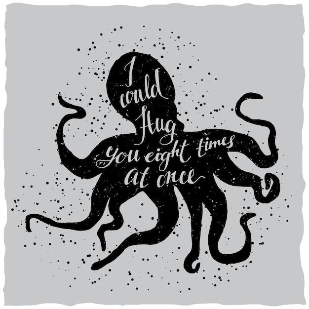Hand getrokken belettering poster met afbeelding van octopus silhouet en offerte Gratis Vector