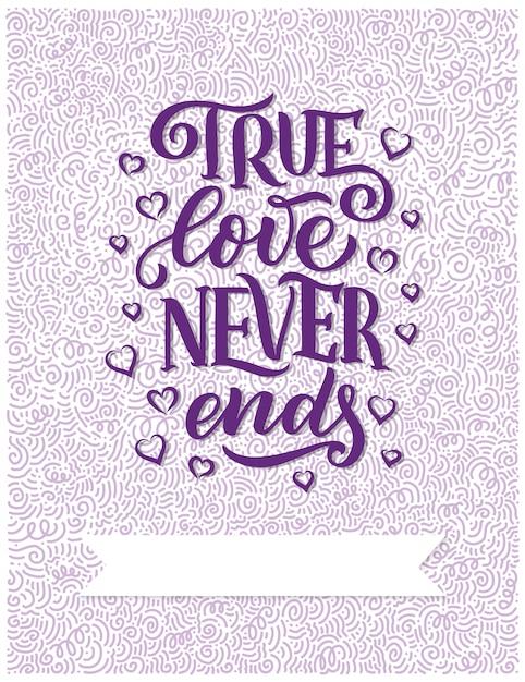 Hand getrokken belettering samenstelling, typografie poster voor valentijnsdag Premium Vector