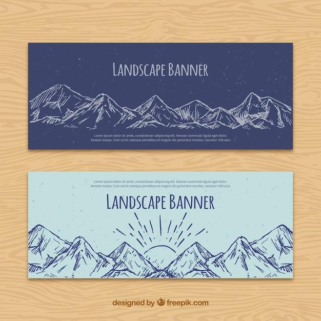 Hand getrokken bergen banners Premium Vector