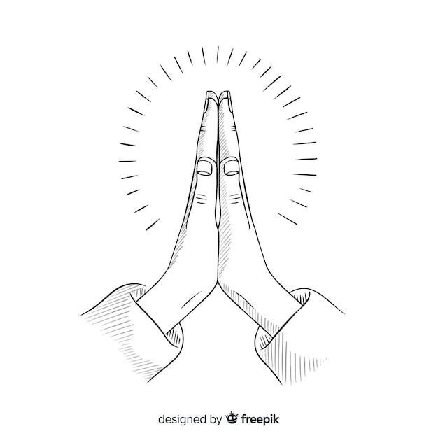 Hand getrokken biddende handen achtergrond Gratis Vector