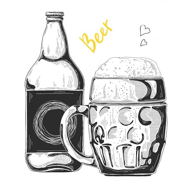 Hand getrokken bier schets Premium Vector