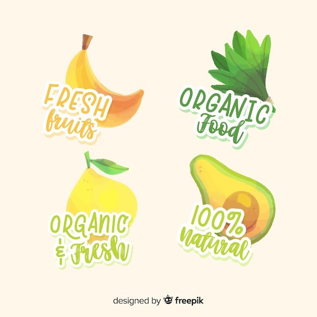 Hand getrokken biologische vruchten labelcollectie Gratis Vector
