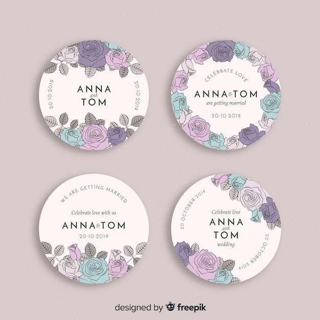 Hand getrokken bloemen bruiloft badges collectie Gratis Vector