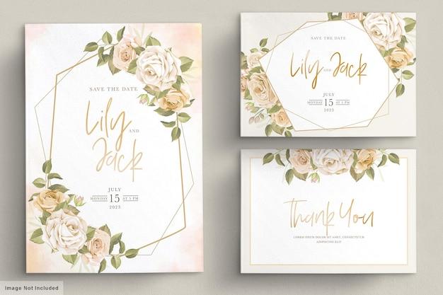 Hand getrokken bloemen bruiloft uitnodiging kaartenset Gratis Vector