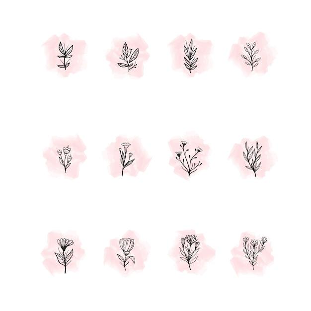 Hand getrokken bloemen hoogtepunten Gratis Vector