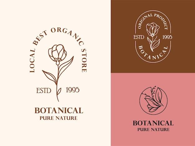 Hand getrokken bloemen logo illustratie collectie voor schoonheid, natuurlijk, biologisch merk Premium Vector