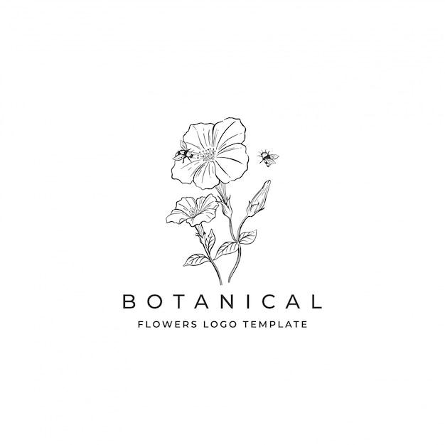 Hand getrokken bloemen logo Premium Vector