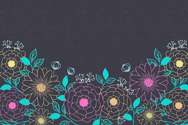 Hand getrokken bloemen op blackboard achtergrond Gratis Vector