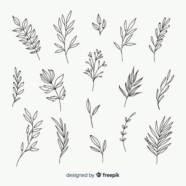 Hand getrokken bloemen sierelementen Gratis Vector