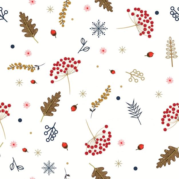 Hand getrokken bloemen winter naadloze patroon met kerst bladeren en bessen. Premium Vector
