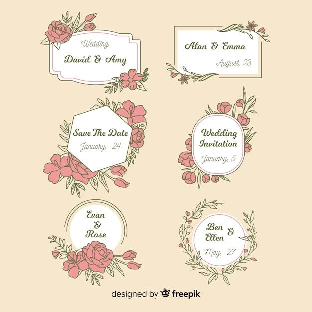 Hand getrokken bloemenhuwelijksinkjes Gratis Vector