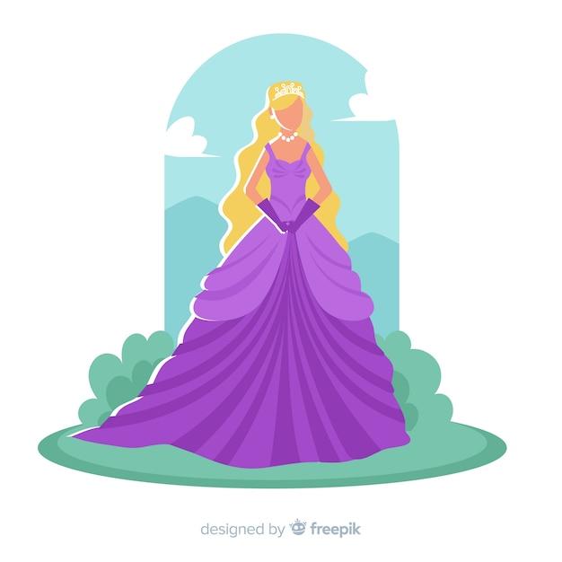 Hand getrokken blonde prinses karakter Gratis Vector