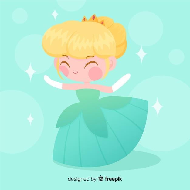 Hand getrokken blonde prinses portret Gratis Vector