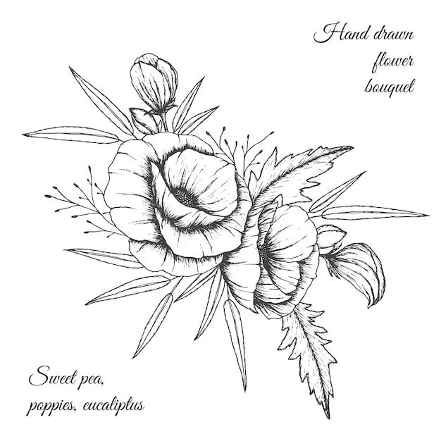 Hand getrokken boeket met papavers, zoete erwt en eucaliptus Premium Vector
