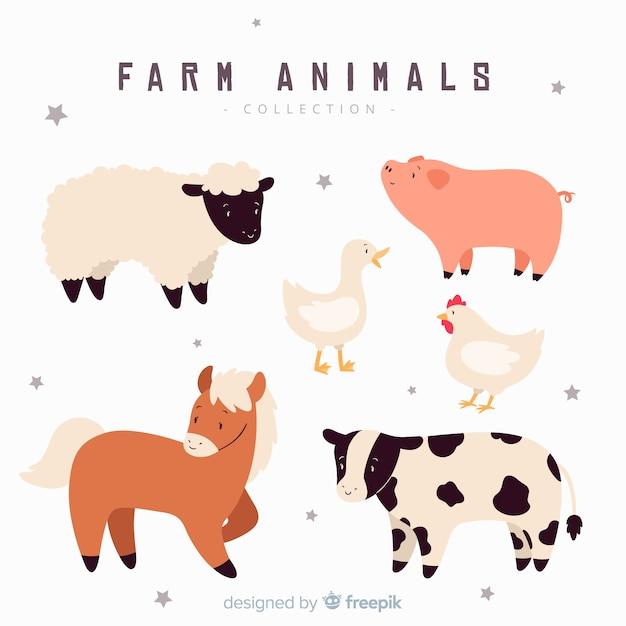 Hand getrokken boerderij dieren collectie Gratis Vector