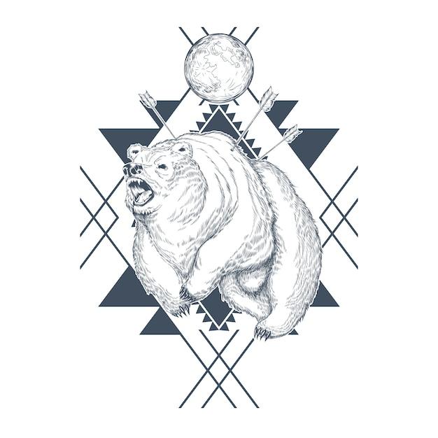 Hand getrokken boos beer, planeet in abstracte geometrische vormen, gewond beest door pijlen. Gratis Vector