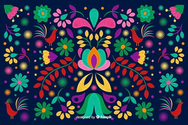 Hand getrokken borduurwerk bloemenachtergrond Gratis Vector