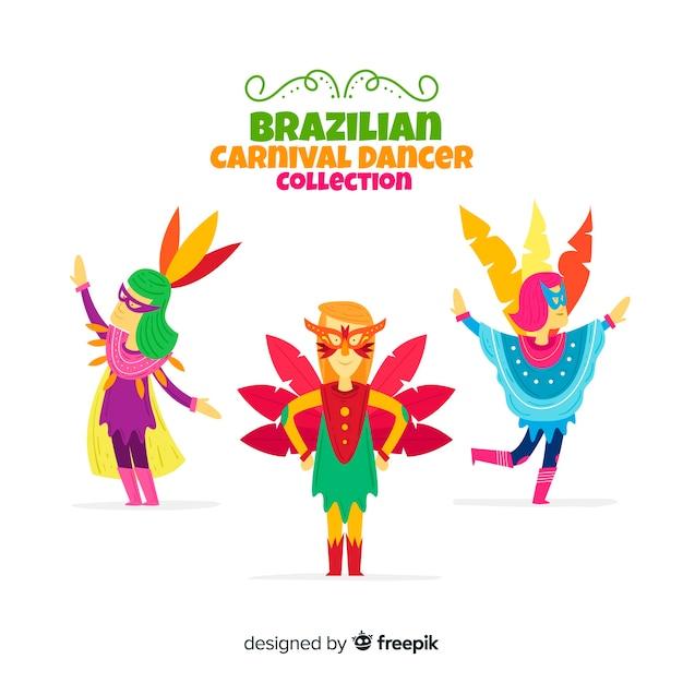 Hand getrokken braziliaanse carnaval danser collectie Gratis Vector