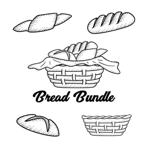 Hand getrokken brood Premium Vector