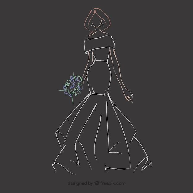 Hand getrokken bruid jurk schets Gratis Vector