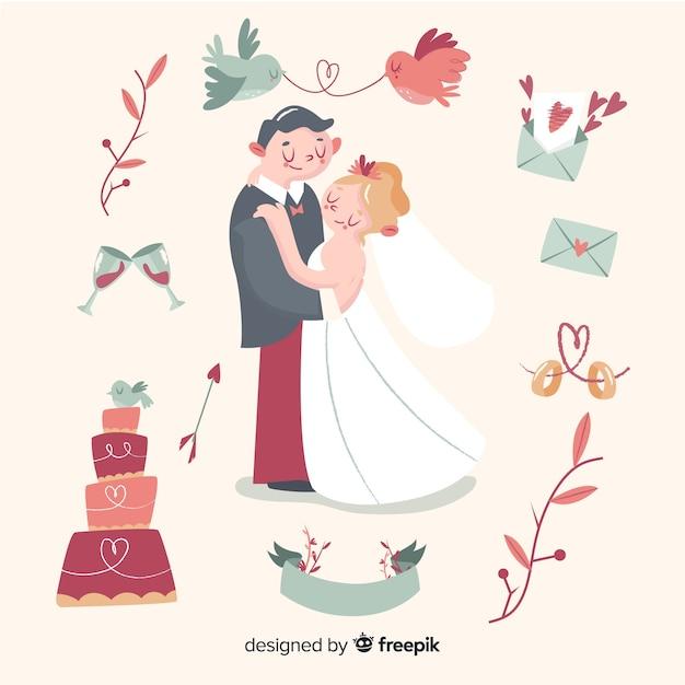 Hand getrokken bruidspaar met ornamenten Gratis Vector