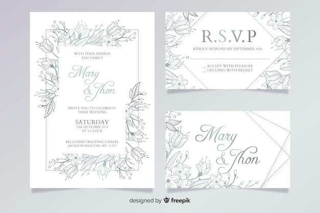 Hand getrokken bruiloft briefpapier sjabloon-collectie Gratis Vector