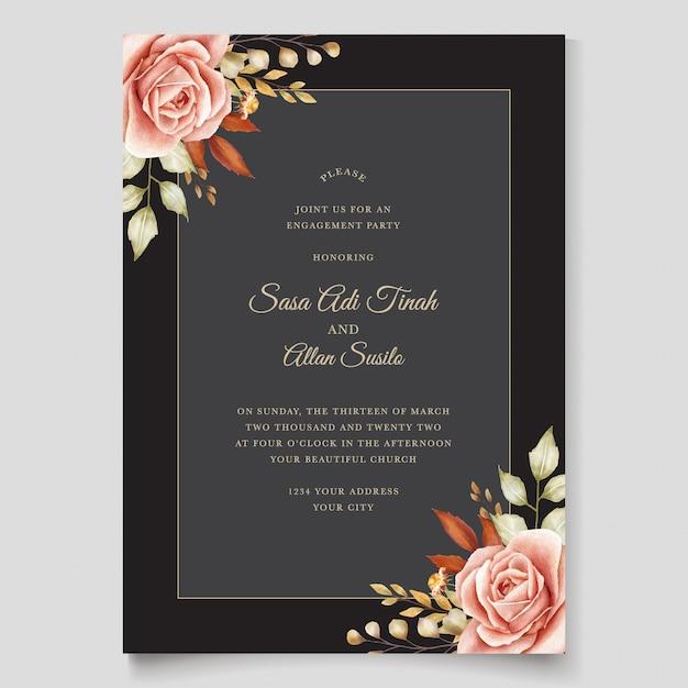 Hand getrokken bruiloft kaartsjabloon Gratis Vector