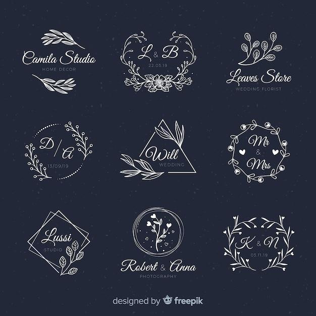 Hand getrokken bruiloft logo collectio Gratis Vector