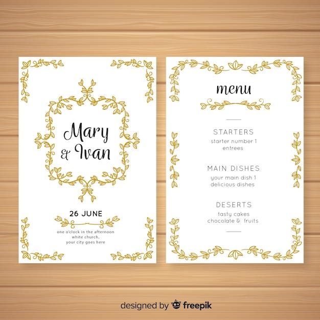 Hand getrokken bruiloft menusjabloon Gratis Vector