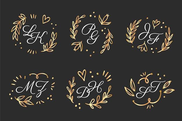 Hand getrokken bruiloft monogram logo-collectie Gratis Vector