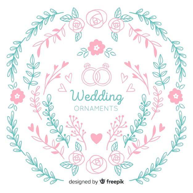 Hand getrokken bruiloft ornamenten collectie Gratis Vector