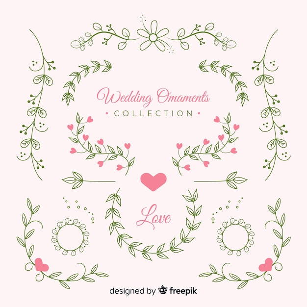 Hand getrokken bruiloft ornamenten instellen Gratis Vector