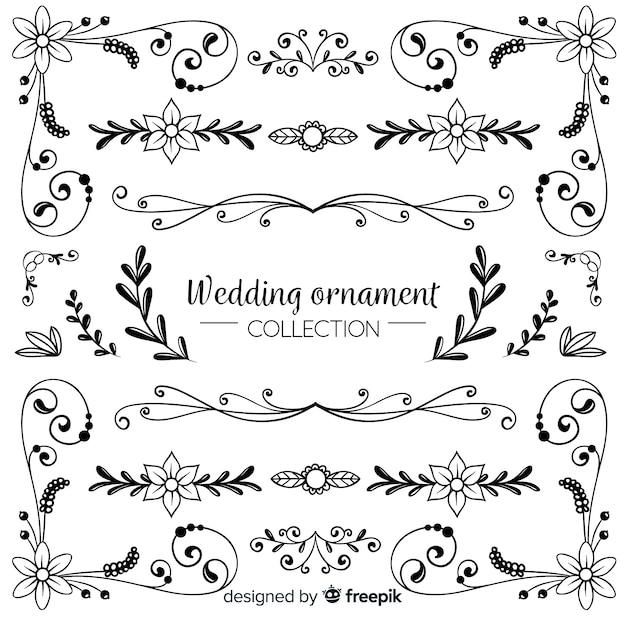 Hand getrokken bruiloft sieraad collectie Gratis Vector