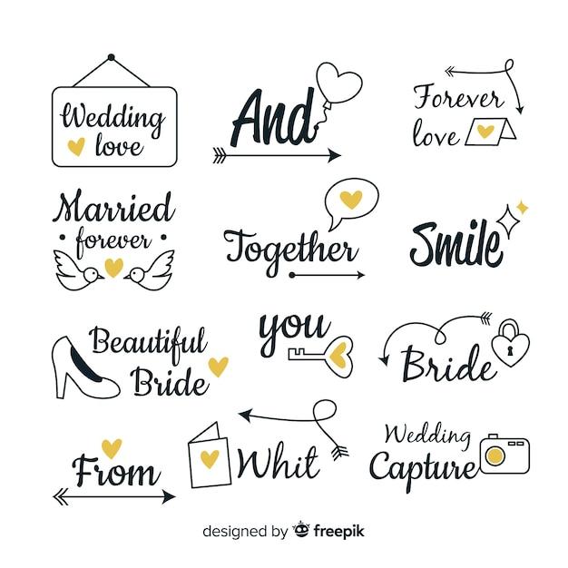 Hand getrokken bruiloft steekwoord collectie Gratis Vector