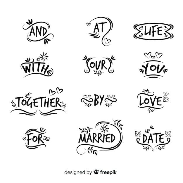 Hand getrokken bruiloft steekwoord Gratis Vector