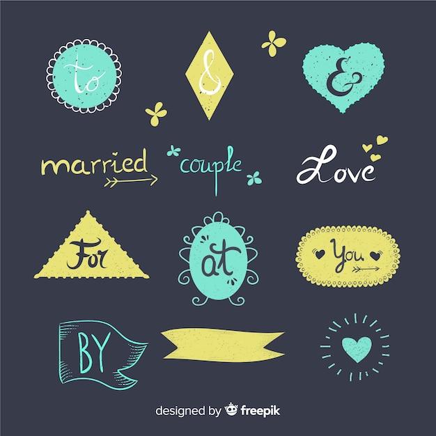 Hand getrokken bruiloft trefwoord verzameling Gratis Vector
