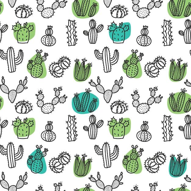 Hand getrokken cactus doodle naadloze patroon Premium Vector