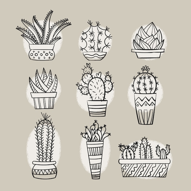 Hand getrokken cactus doodles Premium Vector