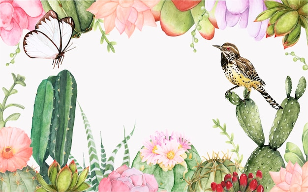 Hand getrokken cactus en succellents planten achtergrond Gratis Vector