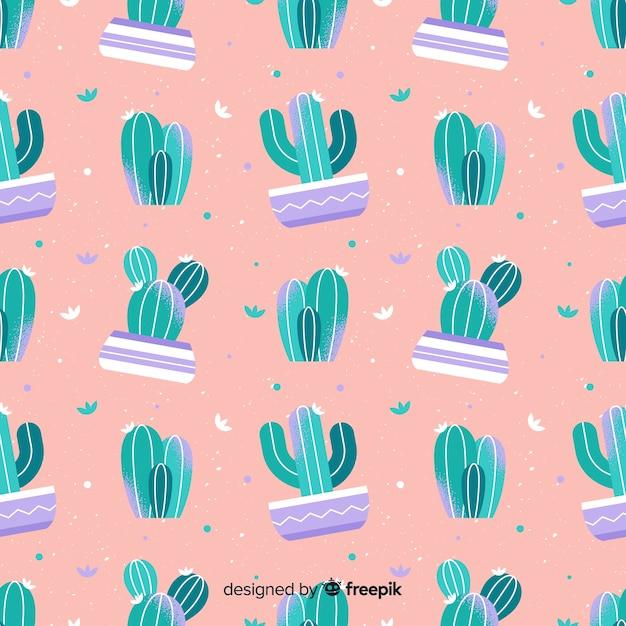Hand getrokken cactus patroon achtergrond Gratis Vector