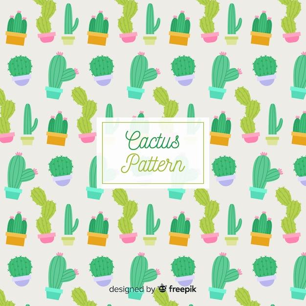 Hand getrokken cactus patroon Gratis Vector
