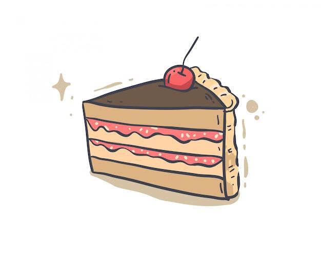Hand getrokken cake. taart vectorillustratie Premium Vector