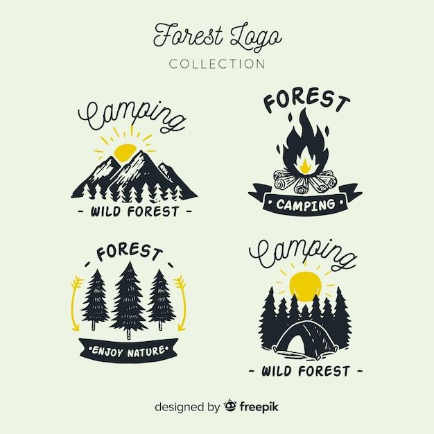Hand getrokken camping logo-collectie Premium Vector